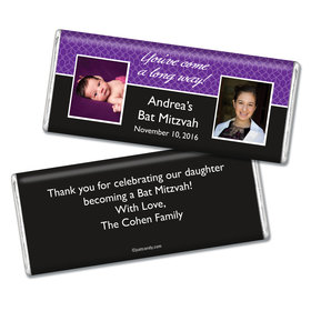 Bat Mitzvah Personalized Chocolate Bar Then & Now