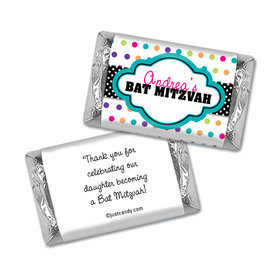Bat Mitzvah Personalized Hershey's Miniatures Wrappers Polka Dot Candy Shoppe