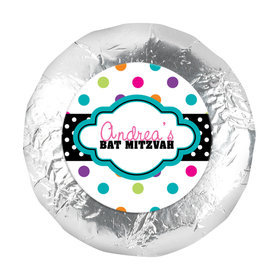 "Bat Mitzvah 1.25"" Sticker Polka Dot Candy Shoppe (48 Stickers)"