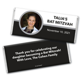 Bat Mitzvah Personalized Chocolate Bar Wrappers Photo Circle