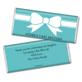 Bat Mitzvah Personalized Chocolate Bar Wrappers Tiffany Bow Theme