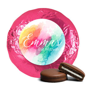 Personalized Bat Mitzvah Rainbow Watercolor Chocolate Covered Oreos Cookies