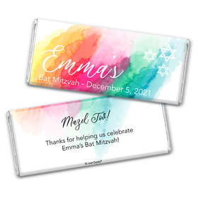 Personalized Bat Mitzvah Rainbow Watercolor Chocolate Bar & Wrapper