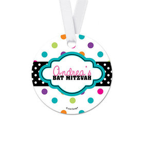 Personalized Round Polka Dot Bat Mitzvah Favor Gift Tags (20 Pack)