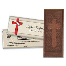 Confirmation Embossed Cross Chocolate Bar Red Cross and Dove