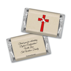 Confirmation Personalized Hershey's Miniatures Wrappers Red Cross and Dove