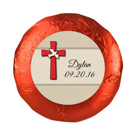 "Confirmation 1.25"" Sticker Red Cross and Dove (48 Stickers)"