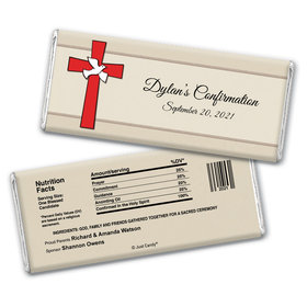 Confirmation Personalized Chocolate Bar Wrappers Red Cross and Dove