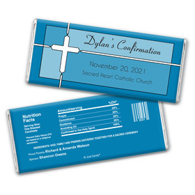 Confirmation Personalized Chocolate Bar Wrappers Stained Glass Cross