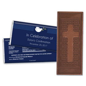 Confirmation Embossed Cross Chocolate Bar Peace Dove Navy Blue