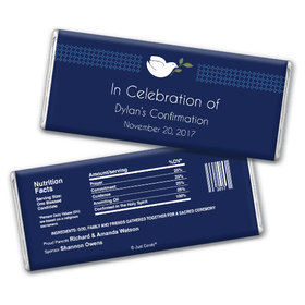 Confirmation Personalized Chocolate Bar Peace Dove Navy Blue
