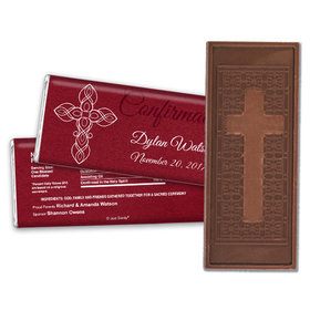 Confirmation Embossed Cross Chocolate Bar White Cross on Crimson Red