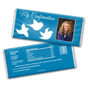 Confirmation Personalized Chocolate Bar Wrappers Peace Doves