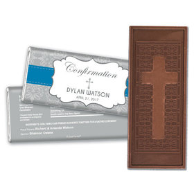 Personalized Confirmation Embossed Cross Chocolate Bar & Wrapper