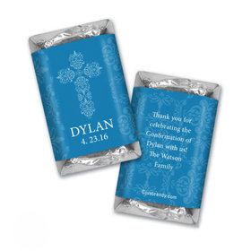Confirmation Personalized Hershey's Miniatures Wrappers Elegant Cross