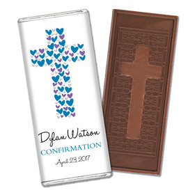 Confirmation Personalized Embossed Cross Chocolate Bar Hearts Cross