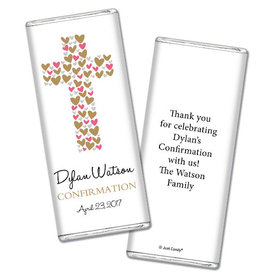 Confirmation Personalized Chocolate Bar Hearts Cross