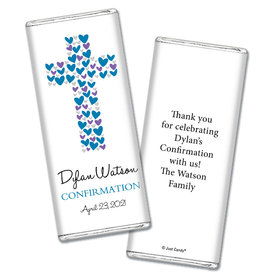 Confirmation Personalized Chocolate Bar Wrappers Hearts Cross
