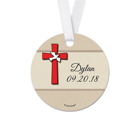 Personalized Round Red Cross Confirmation Favor Gift Tags (20 Pack)