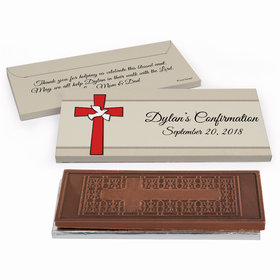 Deluxe Personalized Confirmation Red Cross Embossed Chocolate Bar in Gift Box