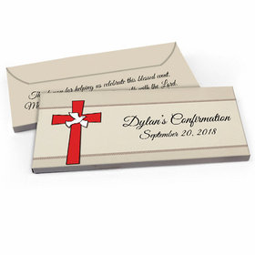 Deluxe Personalized Confirmation Red Cross Candy Bar Favor Box