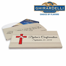 Deluxe Personalized Confirmation Red Cross & Dove Ghirardelli Chocolate Bar in Gift Box