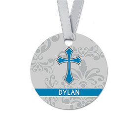 Personalized Round Colored Cross Confirmation Favor Gift Tags (20 Pack)