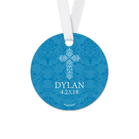 Personalized Round Elegant Cross Confirmation Favor Gift Tags (20 Pack)