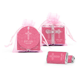 Personalized Girl Confirmation Elegant Cross Cross Organza Bag with Hershey's Miniatures