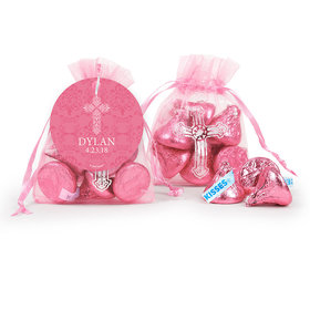 Personalized Girl Confirmation Elegant Cross Cross Organza Bag with Hershey's Kisses