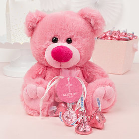 Personalized Girl Confirmation Elegant Cross Pink Teddy Bear and Organza Bag with Hershey's Kisses