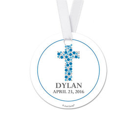 Personalized Round Stone Cross Confirmation Favor Gift Tags (20 Pack)