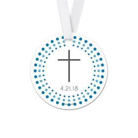 Personalized Round Radiant Cross Confirmation Favor Gift Tags (20 Pack)