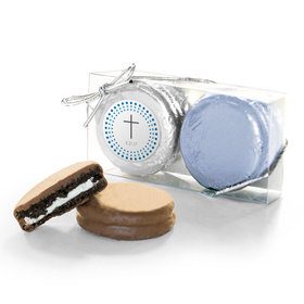 Personalized Confirmation Blue Dotted Circle Calvary Cross 2PK Belgian Chocolate Covered Oreo Cookies