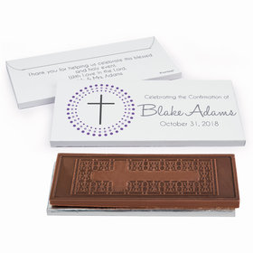 Deluxe Personalized Confirmation Radiating Cross Embossed Chocolate Bar in Gift Box