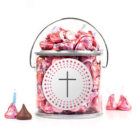 Confirmation Pink Dotted Circle Calvary Cross Silver Paint Can with Sticker