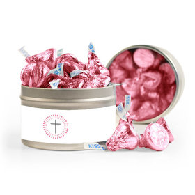 Confirmation Pink Dotted Circle Calvary Cross 8oz Tin with Label