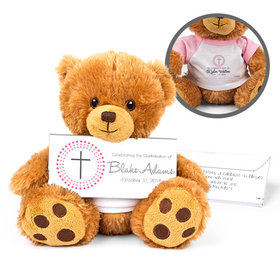 Personalized Confirmation Girl's Radiant Cross Teddy Bear with Belgian Chocolate Bar in Deluxe Gift Box