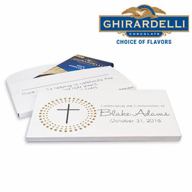 Deluxe Personalized Confirmation Girl Calvery Cross Ghirardelli Chocolate Bar in Gift Box