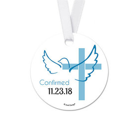 Personalized Round Cross & Dove Confirmation Favor Gift Tags (20 Pack)