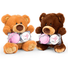 Personalized Confirmation Girl's Cross & Dove Teddy Bear with Chocolate Covered Oreo 2pk