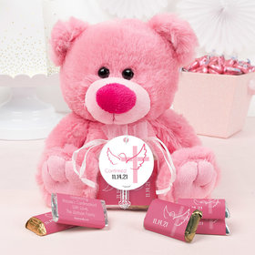 Personalized Girl Confirmation Dove & Cross Pink Teddy Bear and Organza Bag with Hershey's Miniatures