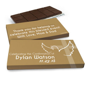 Deluxe Personalized Confirmation Dove & Cross Girl Chocolate Bar in Gift Box (3oz Bar)