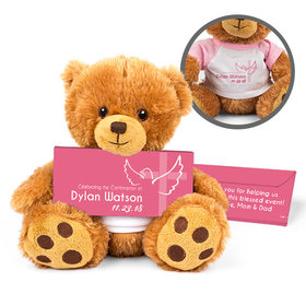 Personalized Confirmation Girl's Cross & Dove Teddy Bear with Belgian Chocolate Bar in Deluxe Gift Box