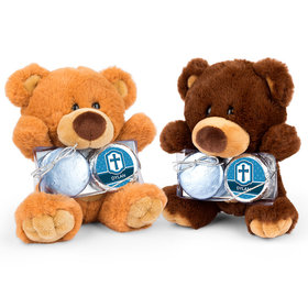 Personalized Confirmation Boy's Engraved Cross Teddy Bear with Chocolate Covered Oreo 2pk