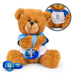Personalized Confirmation Boy's Engraved Cross Teddy Bear with Chocolate Coins in XS Organza Bag