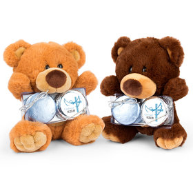 Personalized Confirmation Boy's Cross & Dove Teddy Bear with Chocolate Covered Oreo 2pk