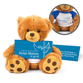 Personalized Confirmation Boy's Cross & Dove Teddy Bear with Belgian Chocolate Bar in Deluxe Gift Box
