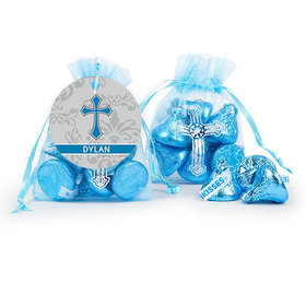 Personalized Boy Confirmation Blessed Cross Organza Bag with Hershey's Kisses
