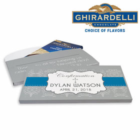 Deluxe Personalized Confirmation Boy Ribbon Ghirardelli Chocolate Bar in Gift Box